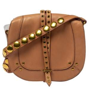 Jerome Dreyfuss Light Brown Leather Embellished Small Victor Shoulder Bag