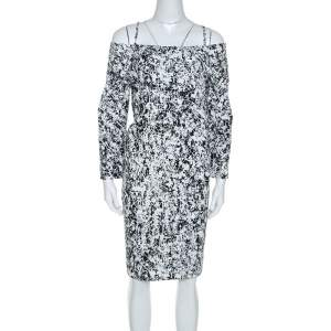 Jil Sander Monochrome Cotton Off Soulder Risiko Dress XL