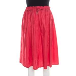 Jil Sander Red Lightweight Cotton Drawstring Waist Gathered Skirt M