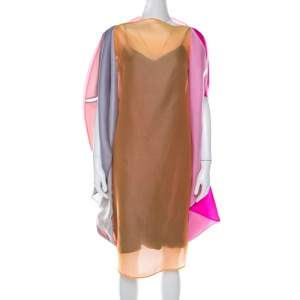 Jil Sander Multicolor Ombre Silk Organza Midi Dress S