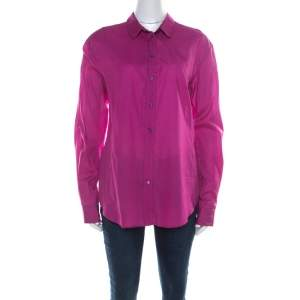 Jil Sander Magenta Pink Cotton and Silk Long Sleeve Shirt M