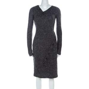 Jil Sander Monochrome Wool Blend Textured Wrap-Button Detail Sheath Dress M