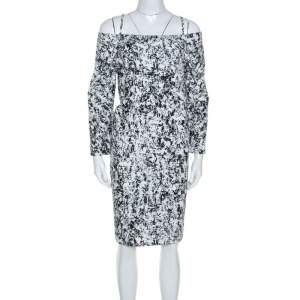 Jil Sander Monochrome Cotton Off Soulder Risiko Dress L
