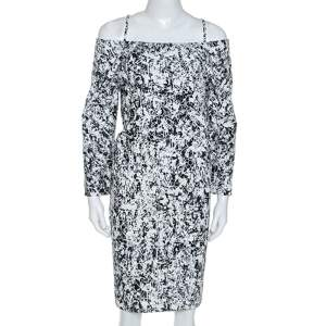 Jil Sander Monochrome Cotton Off Shoulder Risiko Dress M
