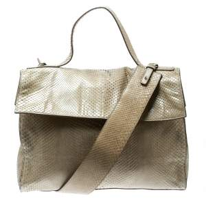 Jil Sander Beige Python Top Handle Bag