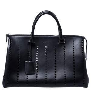 Jil Sander Black Perforated Boston Bag