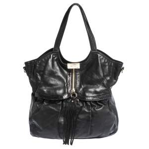 Jimmy Choo for H&M Black Leather Tassel Zip Tote