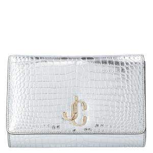 Jimmy Choo Metallic Silver Embossed Leather Varenne Clutch Bag
