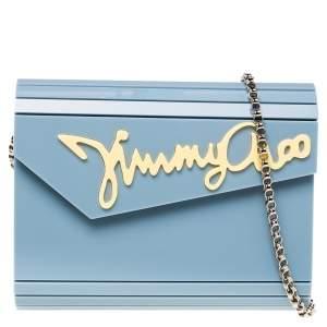 Jimmy Choo Pastel Blue Acrylic Candy Clutch Bag