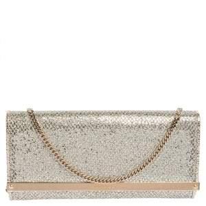 Jimmy Choo Silver Glitter Fabric Milla Chain Clutch