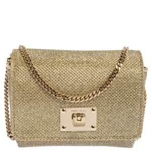 حقيبة كلتش جيمي تشو سلسلة رابي قماش غليتر ذهبي لاميه