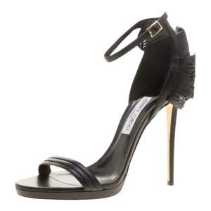 Jimmy Choo Black Leather Kelly Laser Cut Ruffled Trim Ankle Strap Open Toe Sandals Size 41