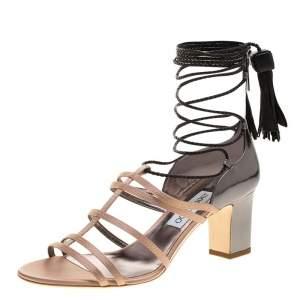 Jimmy Choo Beige Satin and Metallic Leather Diamond Tie Up Block Heel Sandals Size 40
