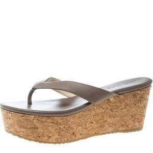 Jimmy Choo Beige Embossed Leather Paque Cork Platform Sandals Size 40