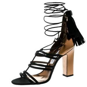 Jimmy Choo Metallic Gold Leather With Black Satin Diamond Block Heel Strappy Sandals Size 40