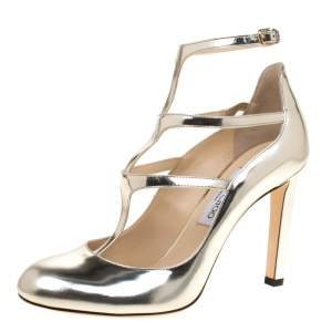 Jimmy Choo Metallic Gold Leather Doll Caged Round Toe Pumps Size 41