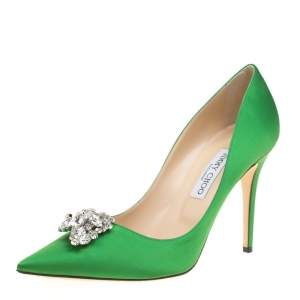 Jimmy Choo Exclusive Collection Apple Green Satin Manda Crystal Embellished Pointed Toe Pumps Size 41