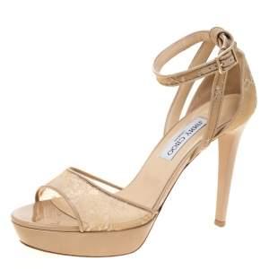 Jimmy Choo Beige Lace Kayden Ankle Strap Platform Sandals Size 41