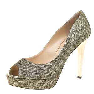 Jimmy Choo Metallic Champagne Glitter Fabric Dahlia Peep Toe Platform Pumps Size 42