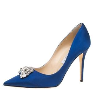 Jimmy Choo Exclusive Collection Electric Blue Satin Manda Crystal Embellished Pointed Toe Pumps Size 41