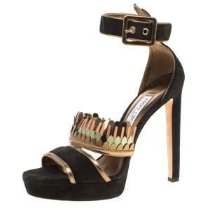 Jimmy Choo Black Suede Kathleen Peep Toe Ankle Cuff Sandals Size 40