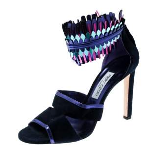 Jimmy Choo Blue Suede and Metallic Mirrored Leather Klara Ankle Cuff Peep Toe Sandals Size 40