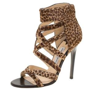 Jimmy Choo Brown Leopard Print Calf Hair Jewel Cage Sandals Size 39