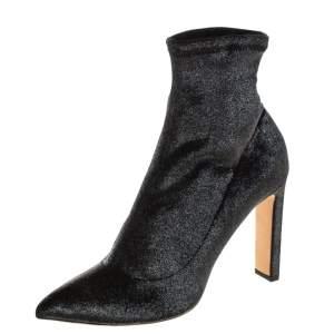 Jimmy Choo Metallic Gunmetal Stretch Velvet Louella Sock Boots Size 40.5