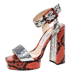 Jimmy Choo Multicolor Snakeskin and Galactica Glitter Fabric Platform Sandals Size 37