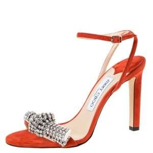 Jimmy Choo Orange Suede Crystal Embellished Thyra Sandals Size 38