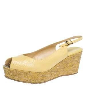 Jimmy Choo Yellow Elaphe Leather Praise Cork Wedge Sandals Size 41