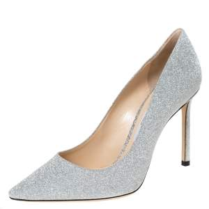 Jimmy Choo Silver Glitter Fabric Romy Pointed Toe Pumps Size 37.5