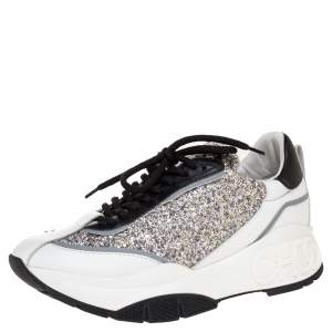 Jimmy Choo White/Sliver Leather And Glitter Raine Low Top Sneakers Size 38