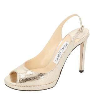 Jimmy Choo Metallic Light Gold Leather Nova 100 Peep Toe Slingback Sandals Size 38.5
