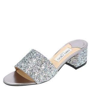 Jimmy Choo Metallic Silver Minea 45 Glitter Block Heel Mules Size 37.5
