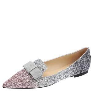 Jimmy Choo Metallic Triple Dégradé Gala Glitter Flats Size 35.5