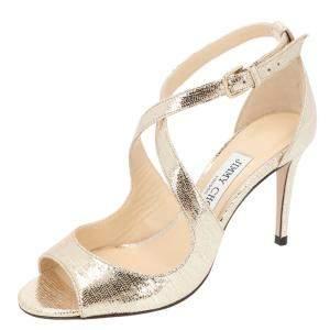 Jimmy Choo Metallic Light Gold Emily 85 Cross Strap Peep Toe Sandals Size  38.5