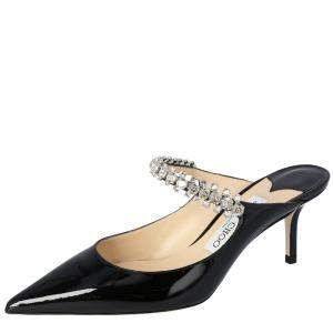 Jimmy Choo Black Patent Leather Bing 65 Crystal Embellished Pointed Toe Mules Size 36.5