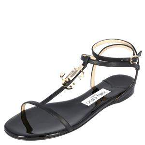 Jimmy Choo Black Leather Alodie Flat Sandals Size 38.5