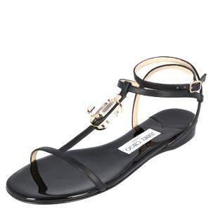 Jimmy Choo Black Leather Alodie Flat Sandals Size 37.5
