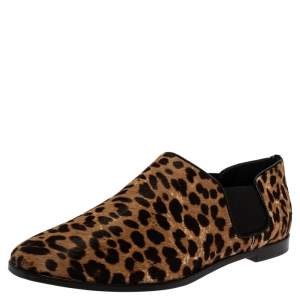Jimmy Choo Leopard Print Calf Hair And Elastic 'Glint' Slip On Loafer Size 39