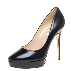 Jimmy Choo Black Leather Alex Platform Pumps Size 40