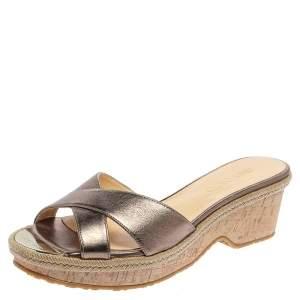 Jimmy Choo Metallic Olive Green Leather Prima Cork Wedge Slide Sandals Size 38