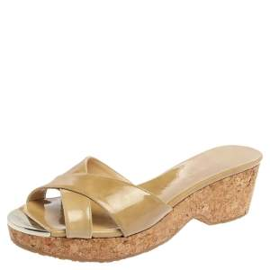 Jimmy Choo Beige Patent Leather Perfume Cork Wedge Platform Slide Sandals Size 38