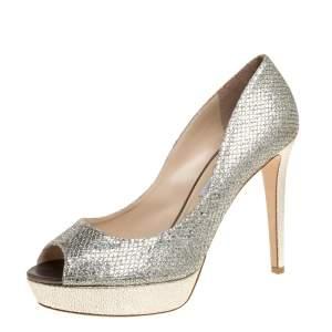 Jimmy Choo Metallic Champagne Glitter Fabric Dahlia Platform Peep Toe Pumps Size 42