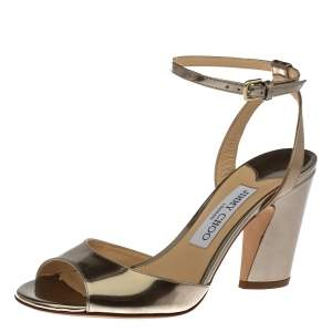 Jimmy Choo Gold Leather Miranda Peep Toe Ankle Strap Sandals Size 37