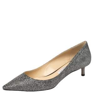 Jimmy Choo Grey Glitter Romy 40 Anthracite Pointed Toe Pumps Size 38
