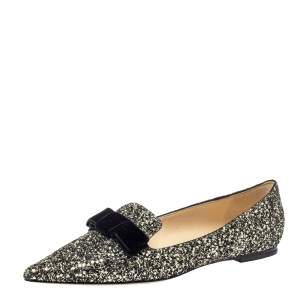 Jimmy Choo Metallic Coarse Glitter Leather Gala Bow Ballet Flats Size 40