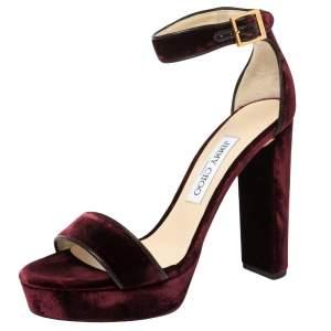 Jimmy Choo Burgundy Velvet  Ankle Strap Platform Sandals Size 38.5