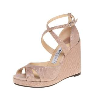 Jimmy Choo Pink Glitter Penny Wedge Sandals Size 36.5